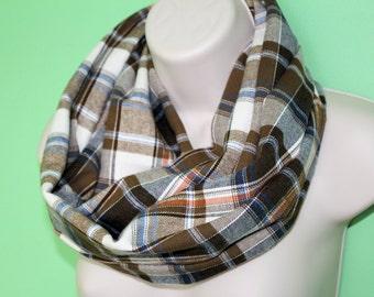 brown plaid infinity scarf, flannel Infinity Scarf -Circle Scarf -plaid Loop Scarf, woman Eternity Scarf, Fall Scarf, Winter Scarf
