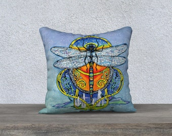 Dragonfly in Amber pillow