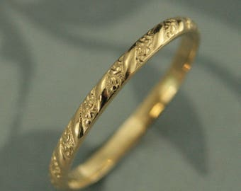 18K Gold Patterned Band Versailles Ring Women's Wedding Ring 18K Wedding Ring 18K Stacking Ring Women's Wedding Band Vintage Style Ring