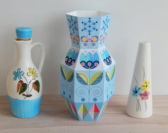 Blue, Printable, Paper Vase, Ellen Giggenbach
