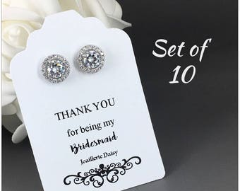 Set of 10 Bridesmaid Earrings Cubic Zirconia Earrings Stud Earrings Bridal Earrings Bridesmaid Gift for Her Maid of Honor Gift for Moms