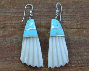 Vintage Santa Domingo White Shell and Turquoise Earrings