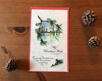 Antique Christmas greeting post card 1917