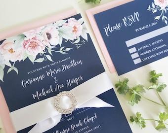 Navy Wedding Invitation, Floral Wedding Invitation, Navy and Blush Wedding, Pink Wedding Invitation, Printable Wedding Invitation, Navy