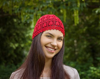 Queen of Hearts Crochet Cap - Valentines Day Gift For Her Woman Girlfriend - Cotton Beanie Crochet Summer Hat - ItWasYarn Hat For Ladies