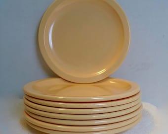Peach Texas Ware Melmac Plates ~ Vintage Melamine ~ (8) total