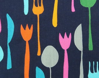 2627C -- Table Cutlery Fabric in Navy, Fork Knife Spoon Fabric