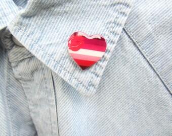Lipstick Lesbian Pride Lapel Pin, Lesbian Pride Accessories, Lesbian Heart Pin, LGBT Pin, LGBT Flag, LGBT Gift, Lesbian Flag Brooch