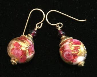 Murano Glass earrings with Pink Fern pattern