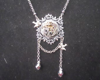 Antique Silver Steampunk Watch Movement Rubies Birds Necklace