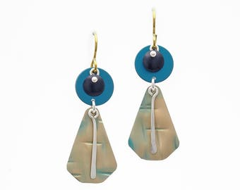 Geometric Anodized Aluminum Hook Earrings- Fold and Curve Collection by Mandy Allen