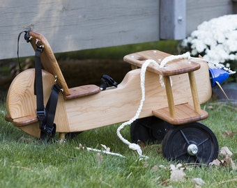 Kid's Wooden Airplane Ride On Toy - Rocker Capable
