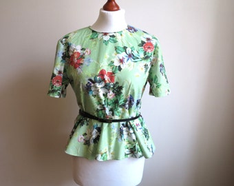 Green Multicolor Blouse Floral Print Blouse Short Sleeves Shirt Frill Top Size M - L