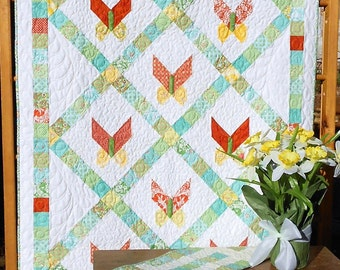 Baby Quilt Pattern PDF INSTANT DOWNLOAD - Butterfly Jelly Roll Pattern  Quilt and Table Runner - Petit Papillon