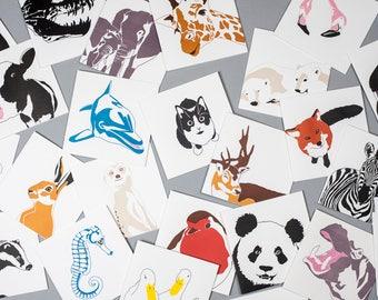 Letterpress Greeting cards - Blank Cards - Blank Card Set - Animal Cards - Animal Card Set - Letterpress Cards - Animal Birthday Cards