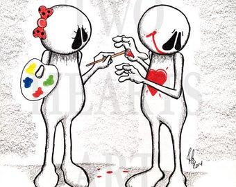 Giclee Art Print, Home Decor, Wall Art, Love Wall Art, Smile Art Print, Fun Art Print, Cartoon Art Print, Decorative Art, Love Art