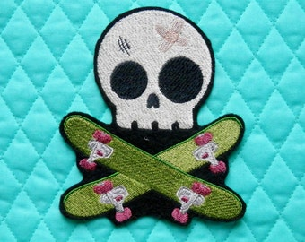 "Embroidered Skull Patch, Skateboarder, Iron on Patch, Large 4.4"" X 5.1"", Skull, Embroidered Patch, Skateboard, Extreme Sports, Boarder"