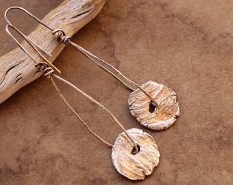 Artisan Rustic Minimalist Fine Silver Disc Earrings + White Sands Weathered Wood + Desert Jewelry + Organic + Dawn Wilson-Enoch