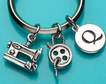 Sewing Keychain, Sewing Key Ring, Seamstress Keychain, Initial Keychain, Personalized Keychain, Custom Keychain, Charm Keychain, 320,646