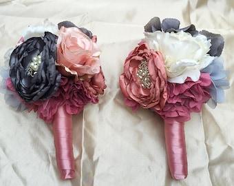 Fabric and Brooch Bridal Bridesmaid Wedding Bouquet Shabby Chic - Grey Silver Dusky Pink