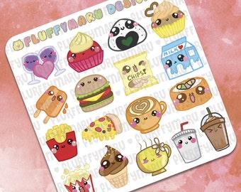 Snack Time Sticker Samplers || Planner Stickers, Cute Stickers for Erin Condren (ECLP), Filofax, Kikki K, Etc. || SS04