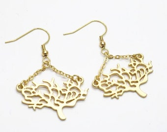 6 pcs of tree earings tree size of 30mm matte gold and matte silver color