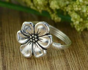 Flower Blossom Wrapped Ring- Sterling Silver, Yellow or Rose Gold Filled Wire with Apple Blossom Bead - Any Size 4 5 6 7 8 9 10 11 12 13 14