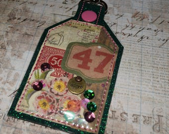 Adore One of a Kind Mixed Media Tag Keychain