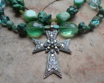 Turquoise and Semi precious stones with Rhinestone Cross Necklace