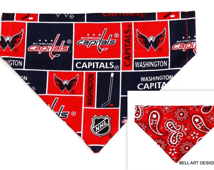 DOG BANDANA ~ Over the Collar ~ Reversible ~ Washington Capitals ~ Bell Art Designs ~ Small DCS355
