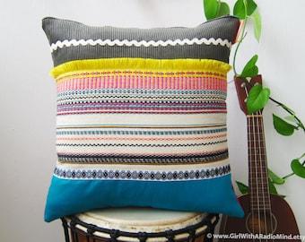 Throw Pillow BEIGE STRIPE Mexican Grey Blue Rustic Cushion Cover