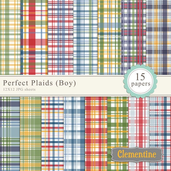 Printable Plaid Scrapbook Paper 12x12 Digital Scrapbooking