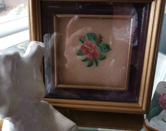 Rose Petite Point Minature Shadow Box 6 in. sq.
