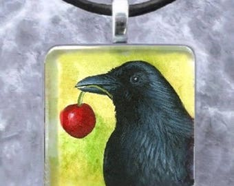 Art Glass Pendant necklage jewelry Earrings Bird 55 Crow Raven from painting by L.Dumas