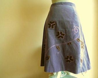 Skirt hippie / Boho - With flowers velvet color skirt hippie / Boho with velvet flowers