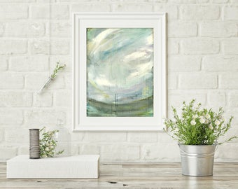"""Landscape Print, Abstract Landscape, Abstract Sky, Impressionist Landscape, Blue Olive Gray, Wall Art, 8""""x10"""" or 11""""x14"""" Print, """"Waning"""""""