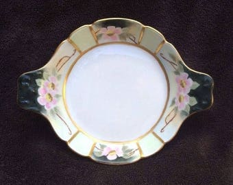 Vintage Limoges - Porcelain A Feu T&V France - Hand Painted Snack Serving Dish