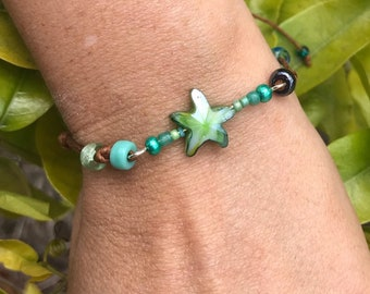Starfish beaded stacker bracelet