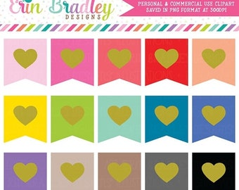 80% OFF SALE Heart Flags Clipart Personal & Commercial Use Flag Clip Art Graphics Set