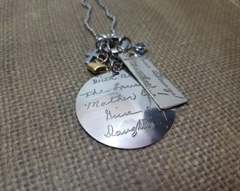 XL HANDWRITING signature (2) charm necklace in solid 925 sterling silver with gold filled puff heart + b.s & cross-mixed metal