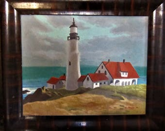 California Lighthouse Oil Painting 1940s