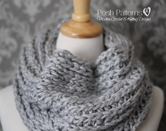 CROCHET PATTERN - Crochet Pattern Cowl, Knit Look Crochet Cowl Pattern, Crochet Scarf, Easy Crochet Pattern - Instant PDF Download 444
