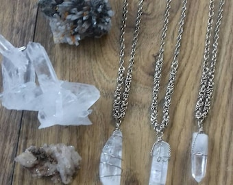 """Peruvian """"punto peruano"""" Silver Quartz Crystal Pendant"""