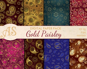 Digital Floral Gold Paisley Seamless Paper Pack, 8 printable Scrapbooking papers, gold Digital Collage, Instant Download, set 85