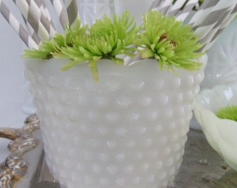 Vintage Milk Glass Scalloped Hobnail  Vase Wedding Tea Party - Cottage - Country - Outdoor Wedding - Romance