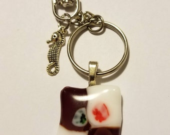 Red/white with flowers fused pendant on silver plated keychain