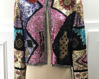 1980s/1990s NWTs Saks Fifth Avenue/Oleg Cassini Hand Sequined and Beaded Jacket--Sz. Small  (SKU 10484CL)