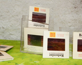 1970s Photo Slides Kodacolor Transparency Set Vintage Photography in Acrylic box