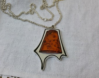 925 necklace with large amber pendant SK495