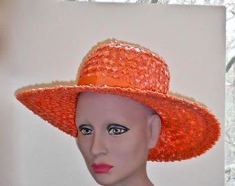 1950s Orange Straw Skimmer Hat - Boater Hat - Broad Brimmed Straw Hat